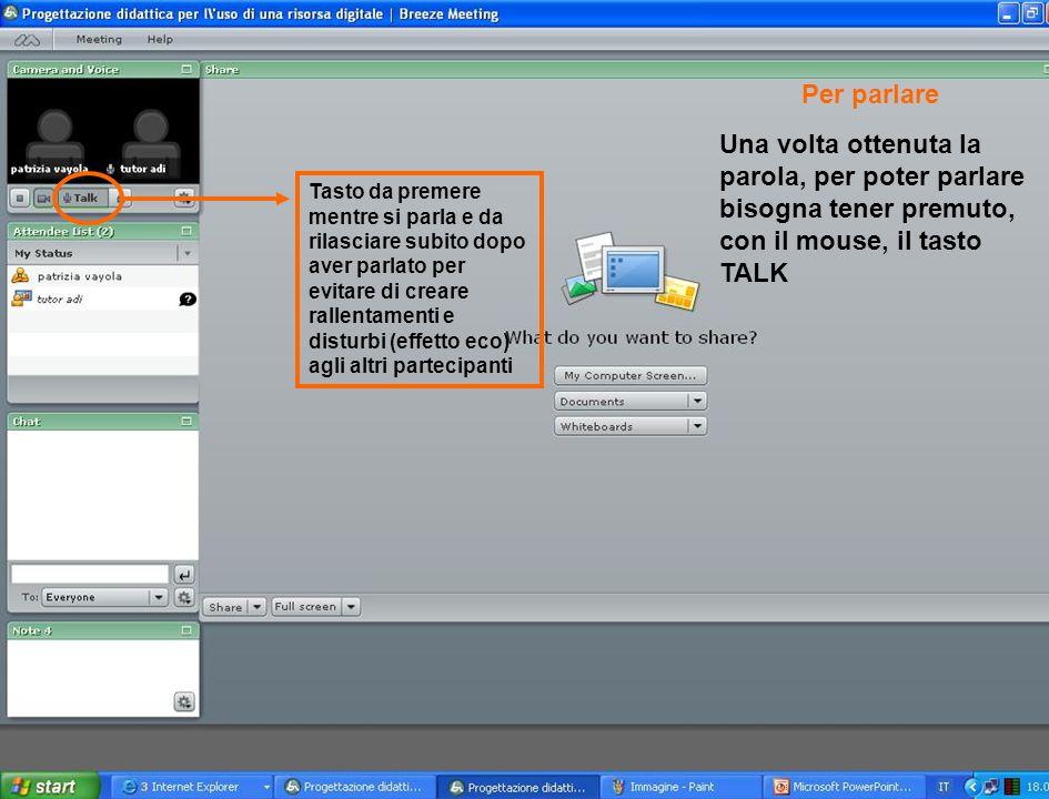 Per parlare Una volta ottenuta la parola, per poter parlare bisogna tener premuto, con il mouse, il tasto TALK.