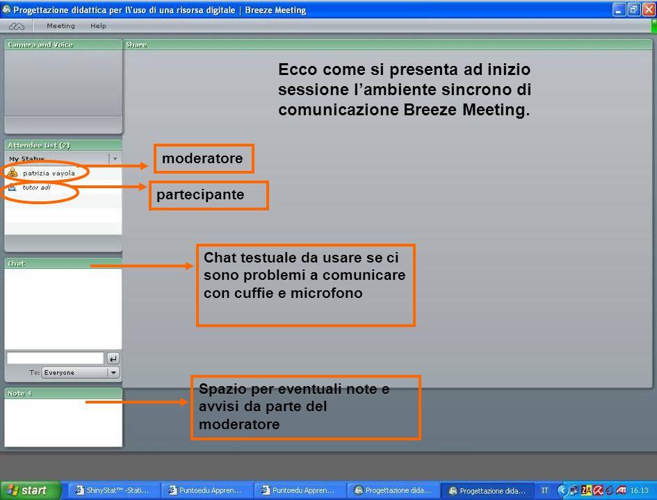 Ecco come si presenta ad inizio sessione l'ambiente sincrono di comunicazione Breeze Meeting.