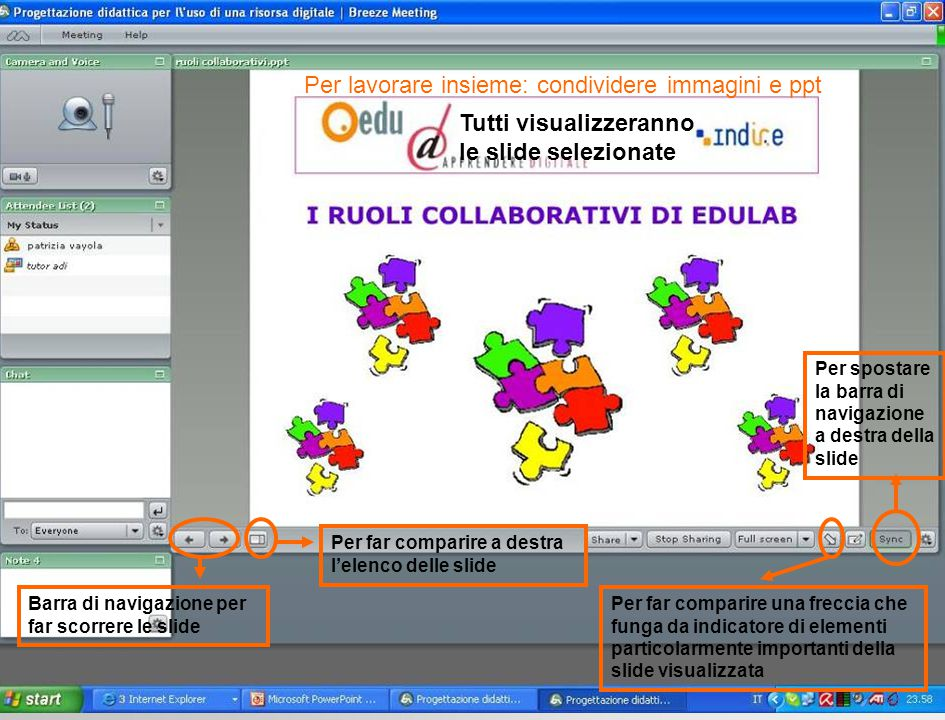 Per lavorare insieme: condividere immagini e ppt