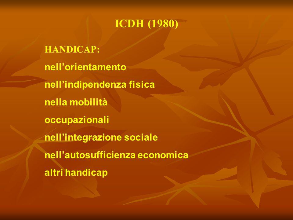 ICDH (1980) HANDICAP: nell'orientamento nell'indipendenza fisica