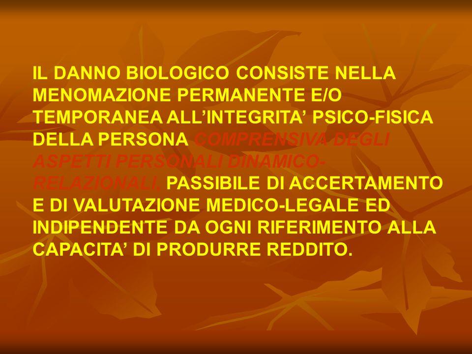 IL DANNO BIOLOGICO CONSISTE NELLA MENOMAZIONE PERMANENTE E/O TEMPORANEA ALL'INTEGRITA' PSICO-FISICA DELLA PERSONA COMPRENSIVA DEGLI ASPETTI PERSONALI DINAMICO-RELAZIONALI, PASSIBILE DI ACCERTAMENTO E DI VALUTAZIONE MEDICO-LEGALE ED INDIPENDENTE DA OGNI RIFERIMENTO ALLA CAPACITA' DI PRODURRE REDDITO.