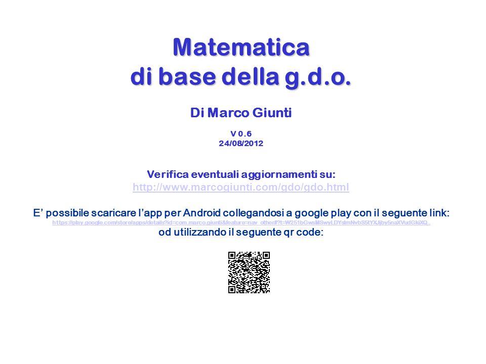 Matematica di base della g. d. o. Per capi reparto Di Marco Giunti V 0