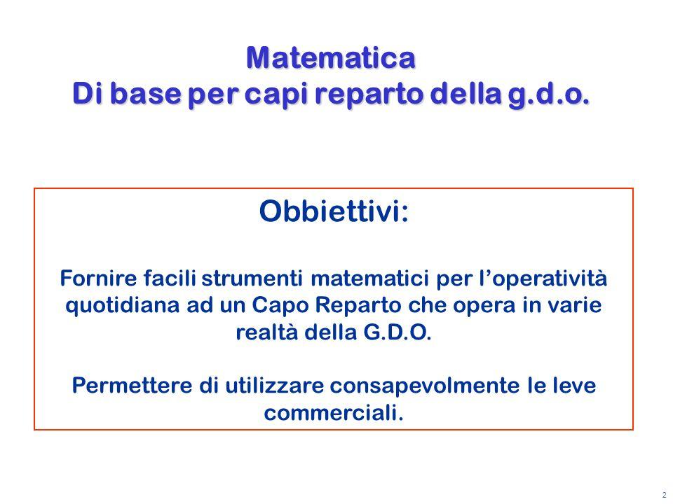 Matematica Di base per capi reparto della g.d.o.