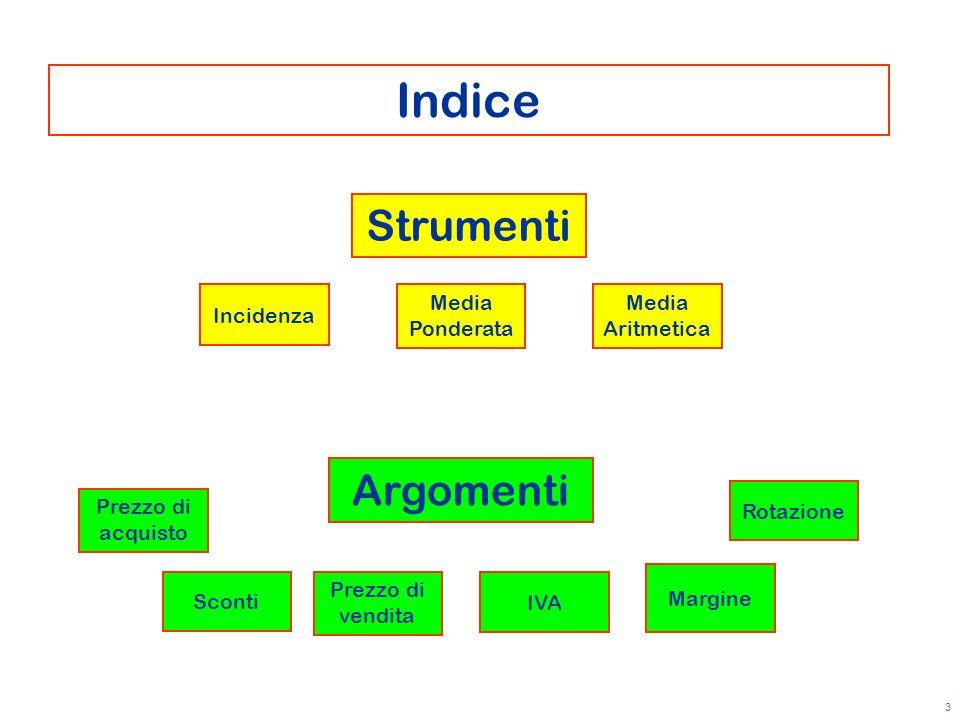 Indice Strumenti Argomenti Incidenza Media Ponderata Media Aritmetica