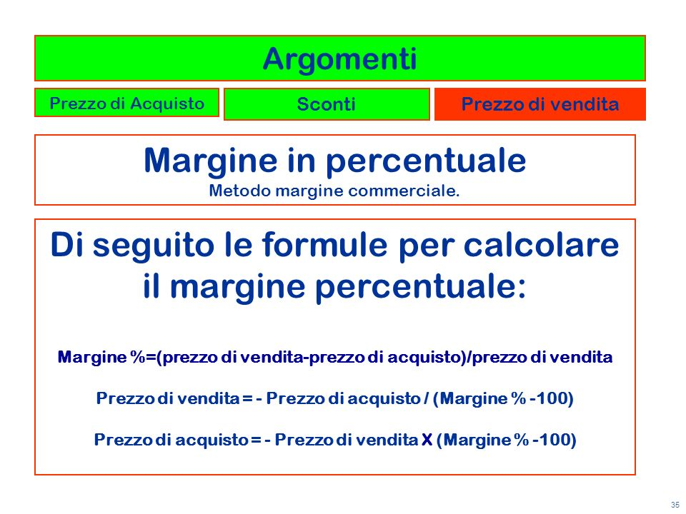 Margine in percentuale