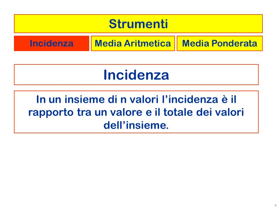 Strumenti Incidenza. Media Aritmetica. Media Ponderata. Incidenza.