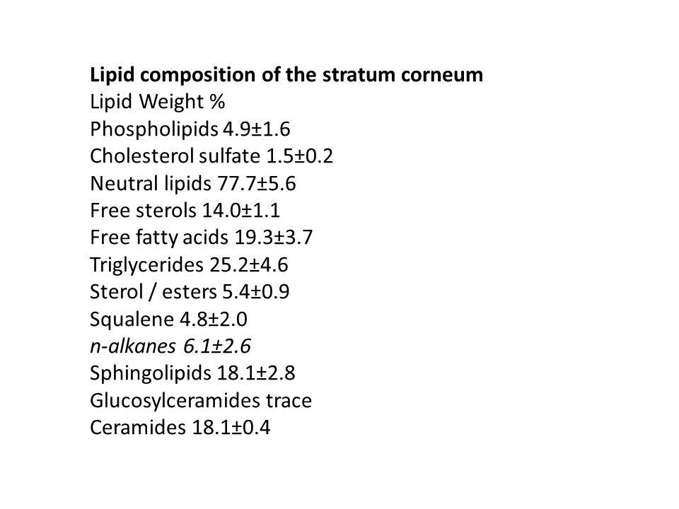 Lipid composition of the stratum corneum