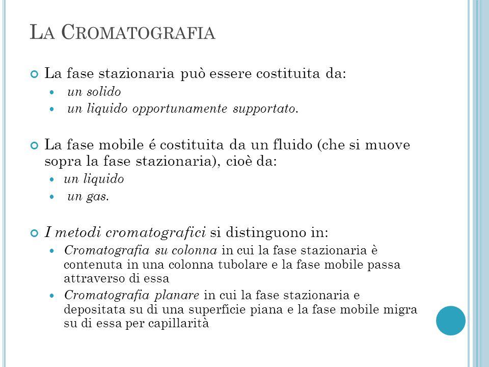 La Cromatografia La fase stazionaria può essere costituita da: