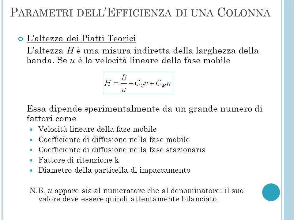 Parametri dell'Efficienza di una Colonna