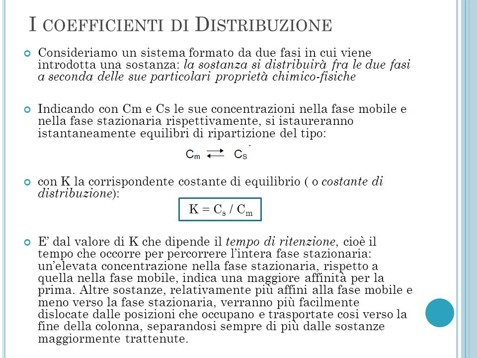 I coefficienti di Distribuzione