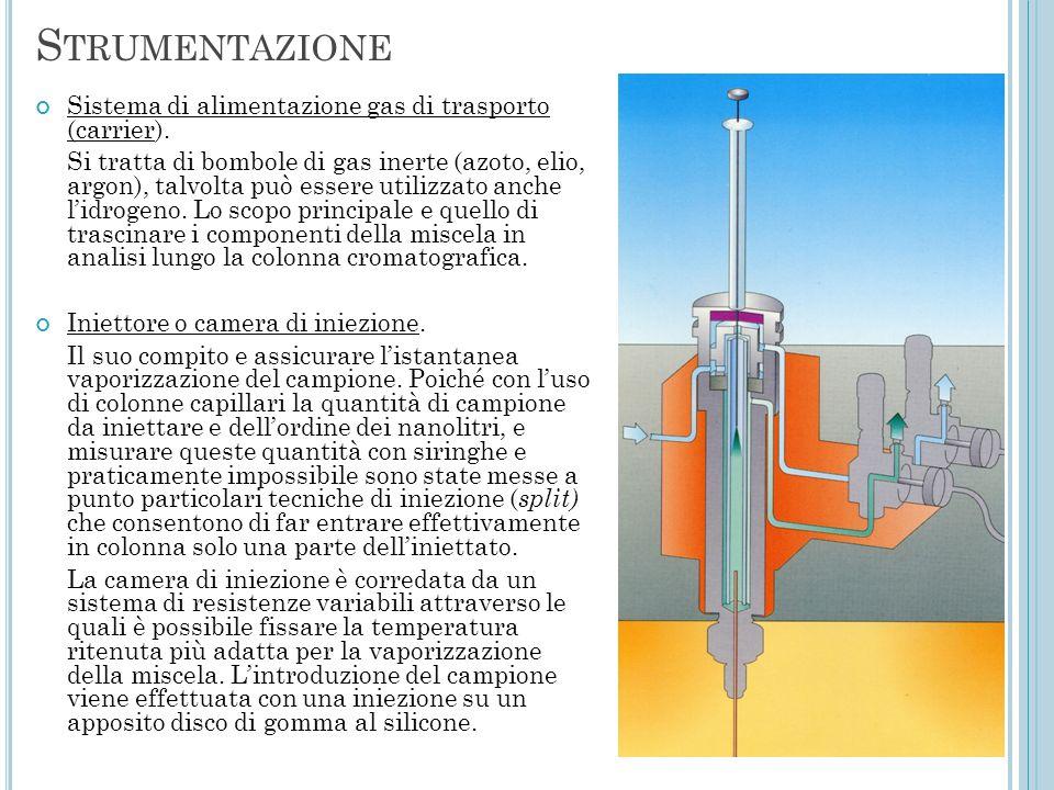 Strumentazione Sistema di alimentazione gas di trasporto (carrier).