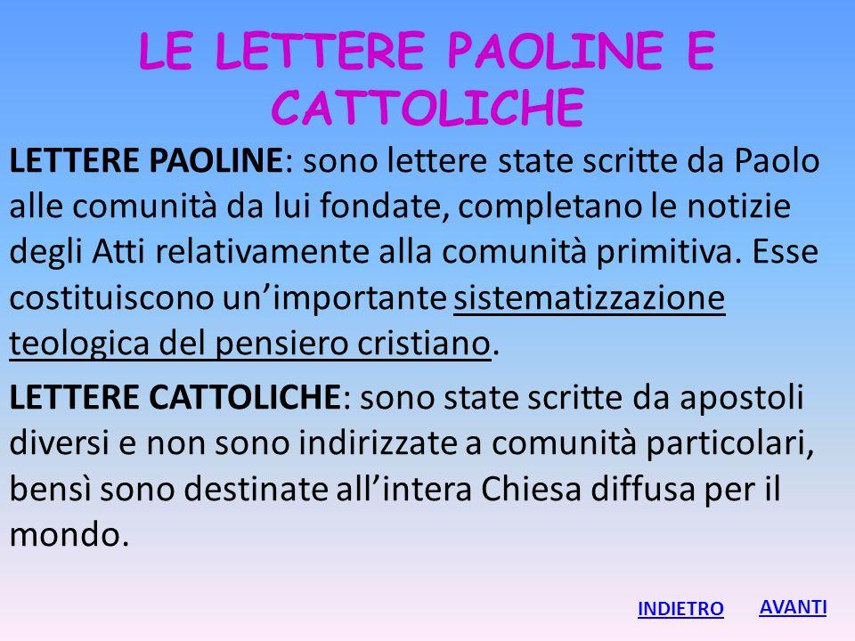 LE LETTERE PAOLINE E CATTOLICHE