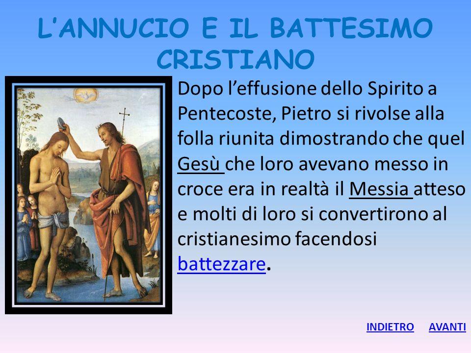 L'ANNUCIO E IL BATTESIMO CRISTIANO