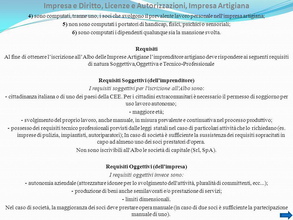 Impresa e Diritto, Licenze e Autorizzazioni, Impresa Artigiana