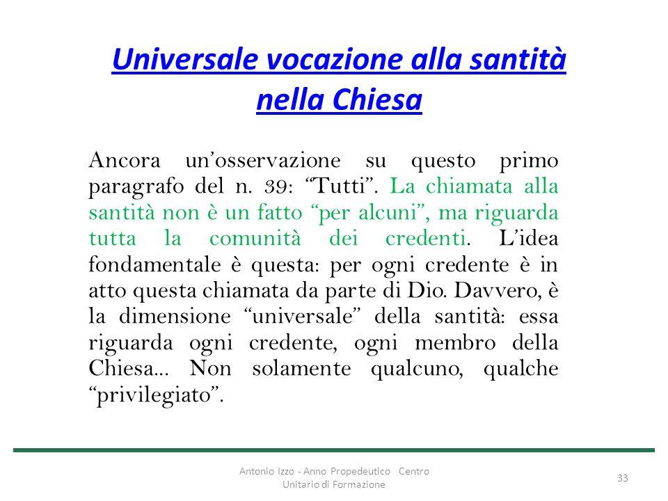 Universale vocazione alla santità nella Chiesa