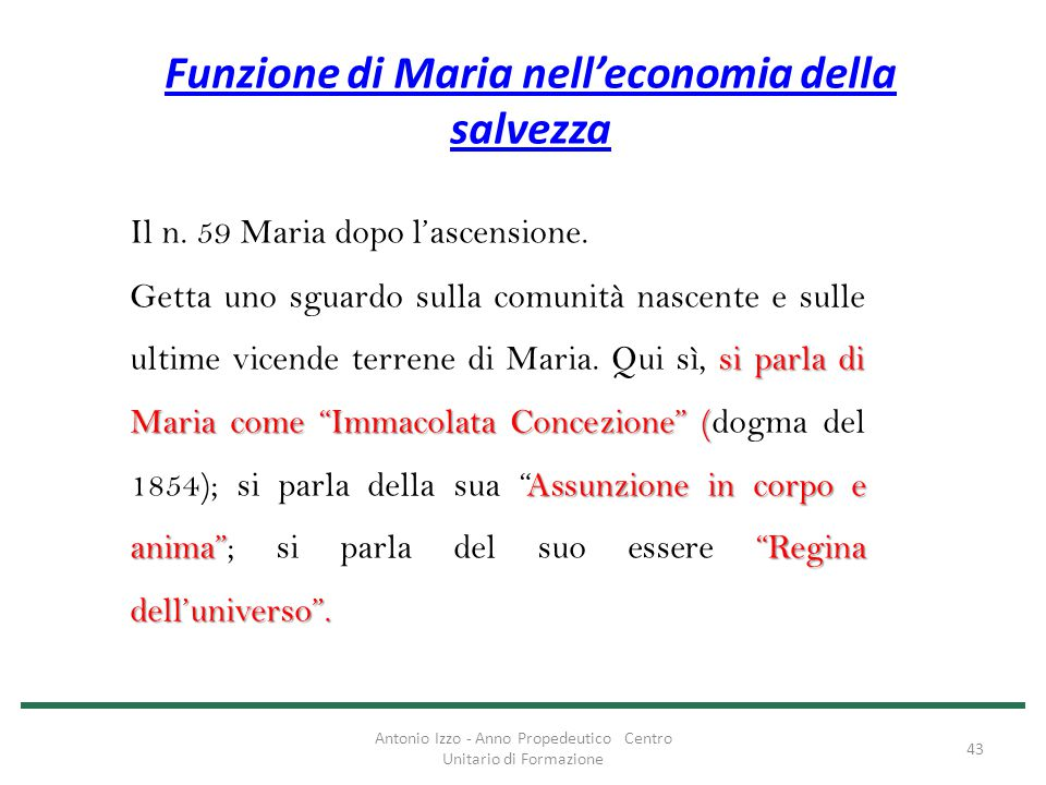 Funzione di Maria nell'economia della salvezza