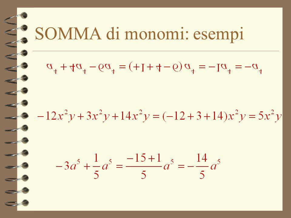 SOMMA di monomi: esempi