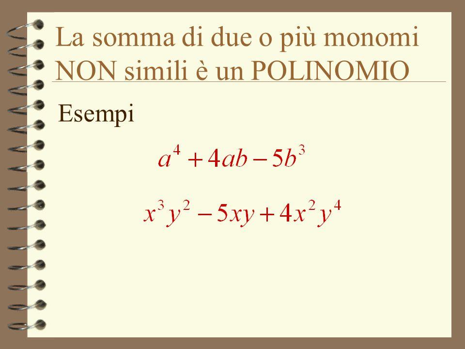 La somma di due o più monomi NON simili è un POLINOMIO