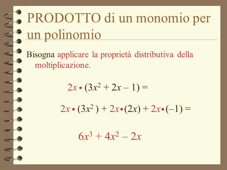 PRODOTTO di un monomio per un polinomio