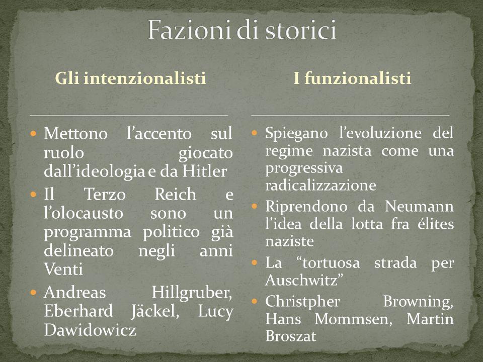 Fazioni di storici Gli intenzionalisti I funzionalisti