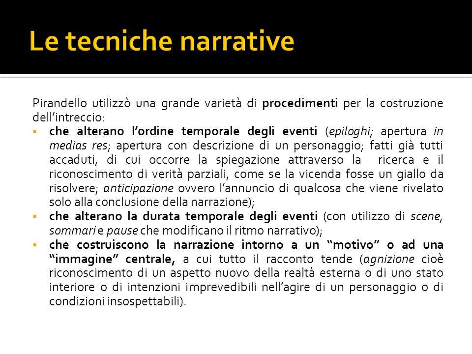 Le tecniche narrative Pirandello utilizzò una grande varietà di procedimenti per la costruzione dell'intreccio: