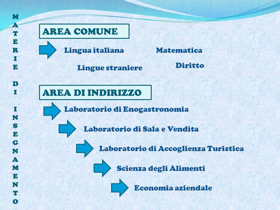 AREA COMUNE AREA DI INDIRIZZO Lingua italiana Matematica Diritto