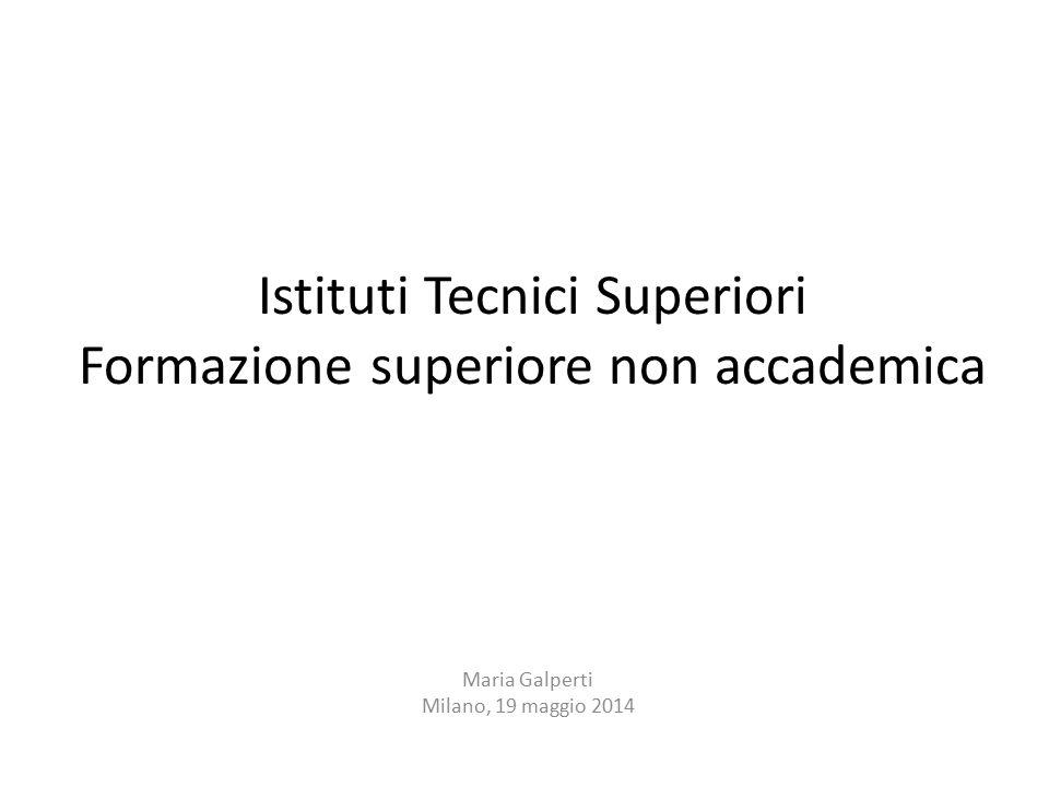 Istituti Tecnici Superiori Formazione superiore non accademica