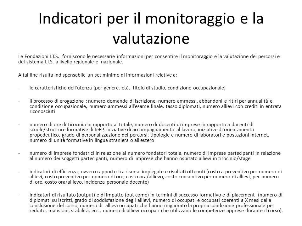 Indicatori per il monitoraggio e la valutazione