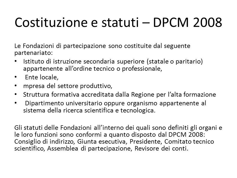 Costituzione e statuti – DPCM 2008