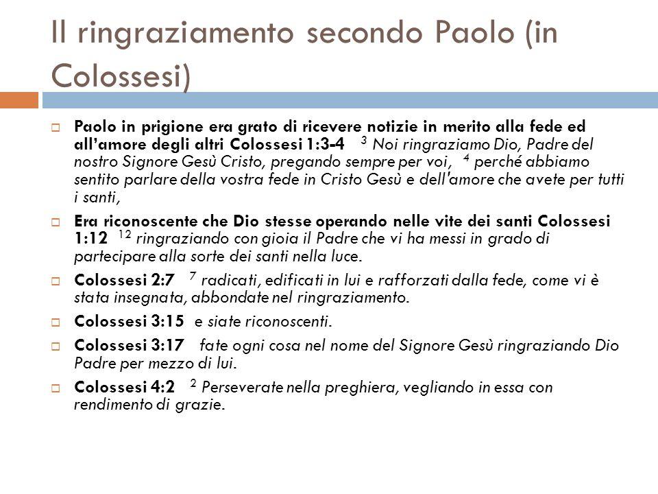 Il ringraziamento secondo Paolo (in Colossesi)