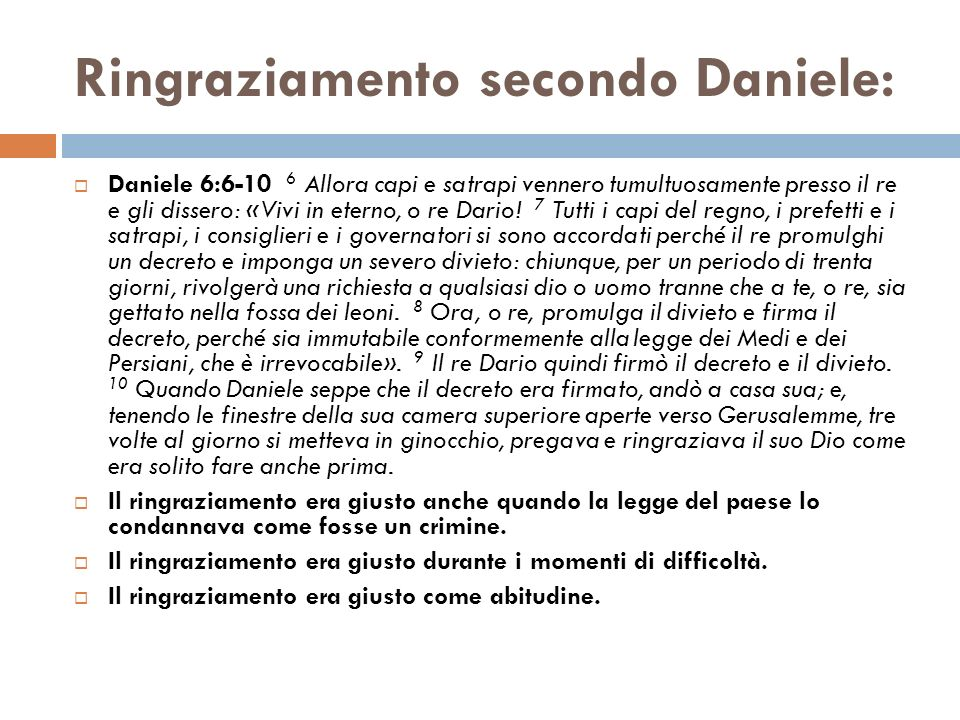 Ringraziamento secondo Daniele: