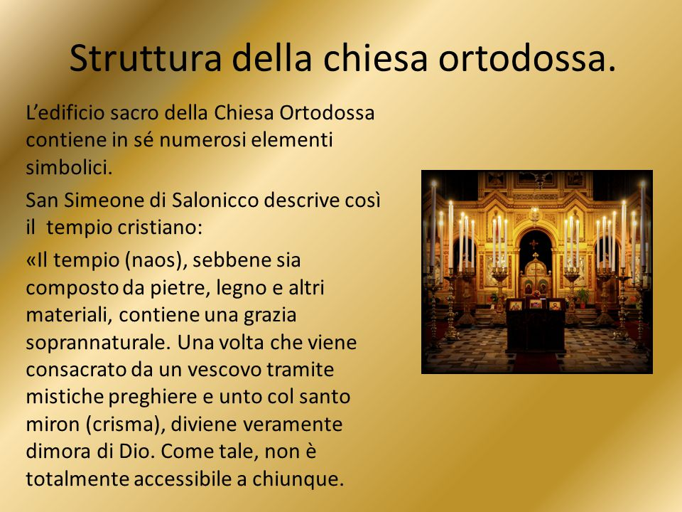 Struttura della chiesa ortodossa.