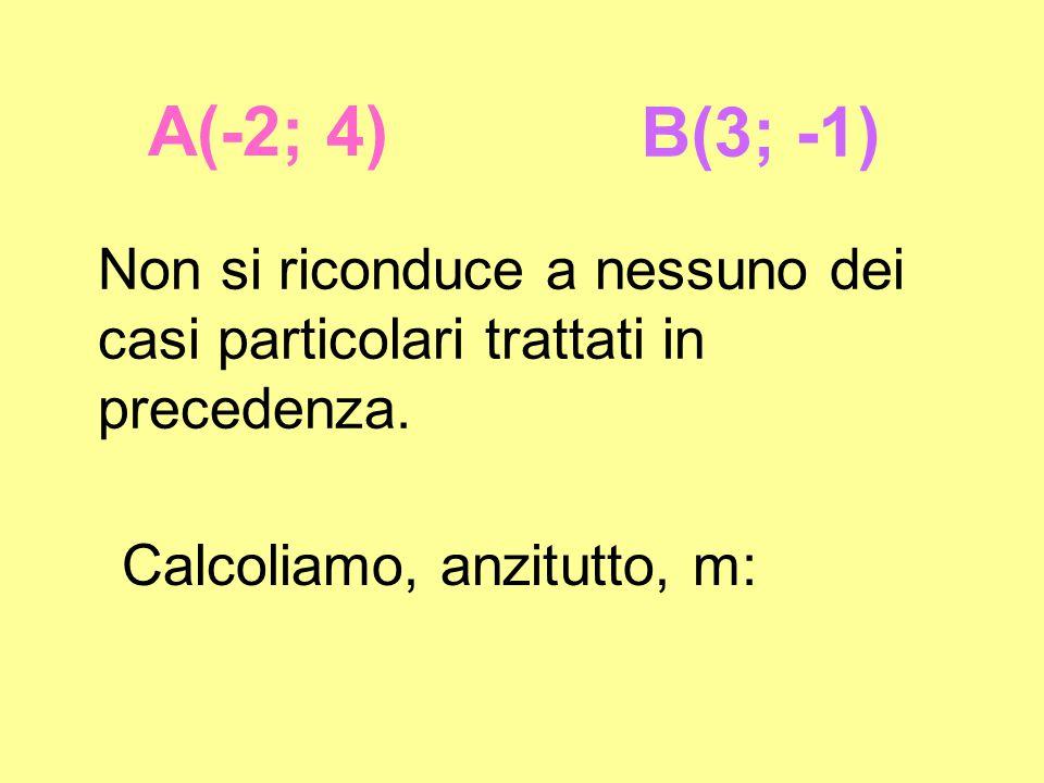 A(-2; 4) B(3; -1) Non si riconduce a nessuno dei casi particolari trattati in precedenza.