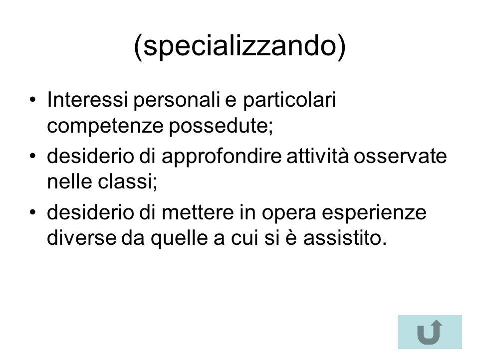 (specializzando) Interessi personali e particolari competenze possedute; desiderio di approfondire attività osservate nelle classi;