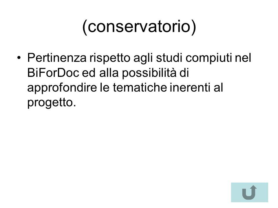 (conservatorio) Pertinenza rispetto agli studi compiuti nel BiForDoc ed alla possibilità di approfondire le tematiche inerenti al progetto.