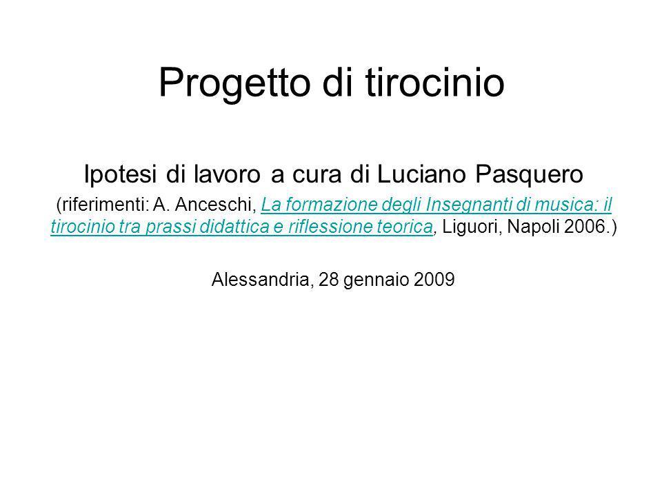 Ipotesi di lavoro a cura di Luciano Pasquero