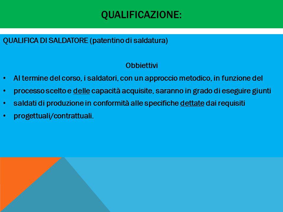Qualificazione: QUALIFICA DI SALDATORE (patentino di saldatura)
