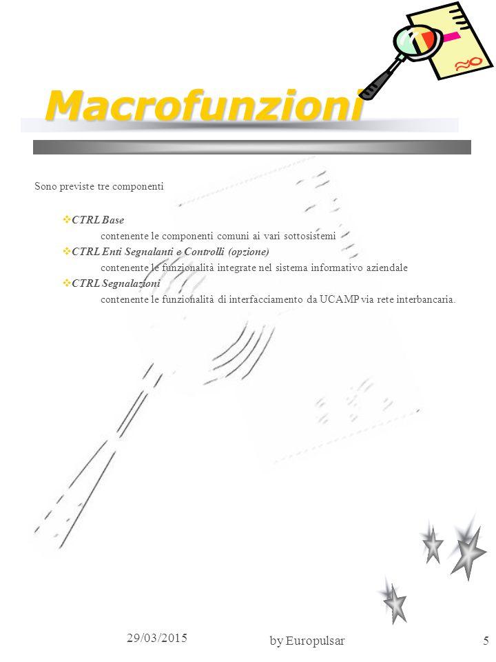 Macrofunzioni 09/04/2017 by Europulsar Sono previste tre componenti