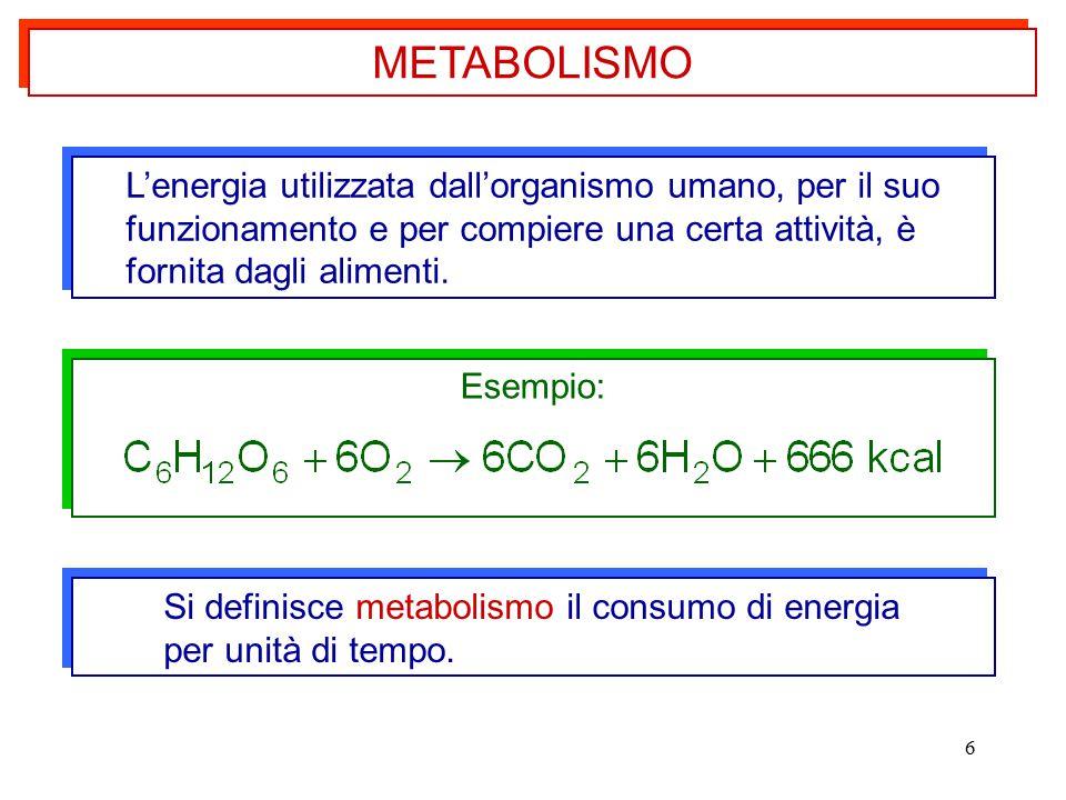METABOLISMO L'energia utilizzata dall'organismo umano, per il suo funzionamento e per compiere una certa attività, è.