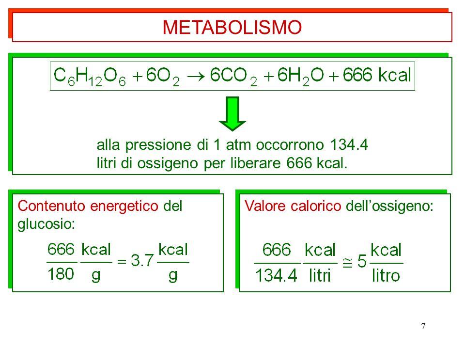METABOLISMO alla pressione di 1 atm occorrono 134.4