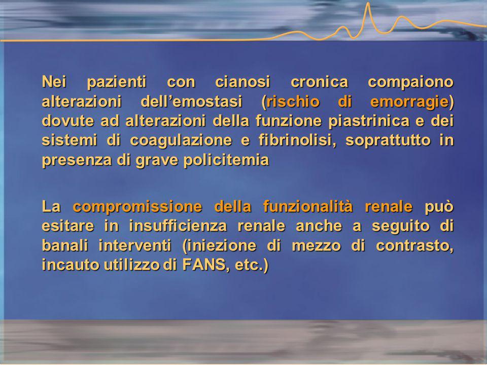 Nei pazienti con cianosi cronica compaiono alterazioni dell'emostasi (rischio di emorragie) dovute ad alterazioni della funzione piastrinica e dei sistemi di coagulazione e fibrinolisi, soprattutto in presenza di grave policitemia