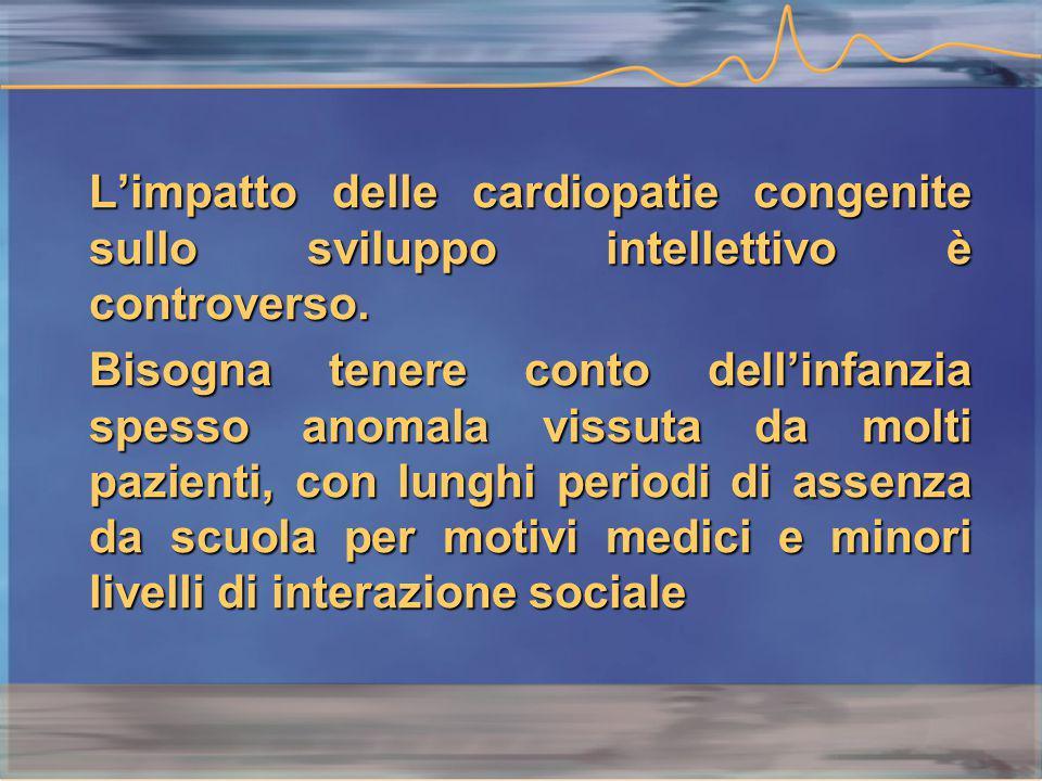 L'impatto delle cardiopatie congenite sullo sviluppo intellettivo è controverso.