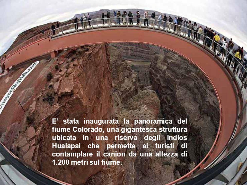 E' stata inaugurata la panoramica del fiume Colorado, una gigantesca struttura ubicata in una riserva degli indios Hualapai che permette ai turisti di contamplare il canion da una altezza di 1.200 metri sul fiume.