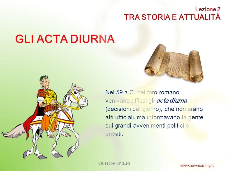 GLI ACTA DIURNA TRA STORIA E ATTUALITÀ