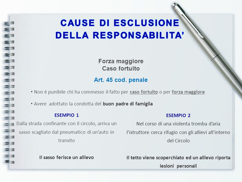 CAUSE DI ESCLUSIONE DELLA RESPONSABILITA'