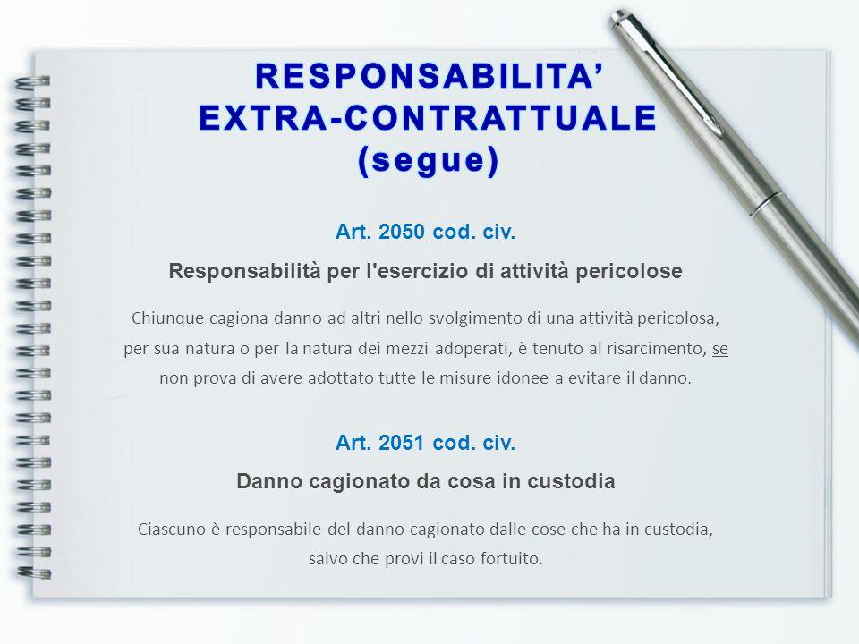 RESPONSABILITA' EXTRA-CONTRATTUALE (segue)