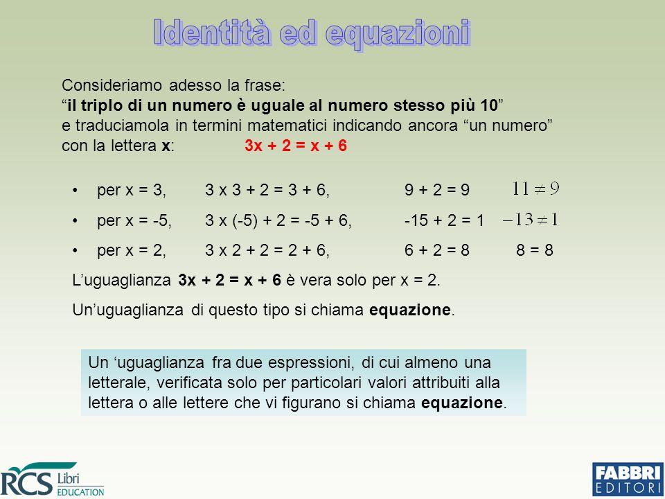 Identità ed equazioni per x = 3, 3 x 3 + 2 = 3 + 6, 9 + 2 = 9. per x = -5, 3 x (-5) + 2 = -5 + 6, -15 + 2 = 1.