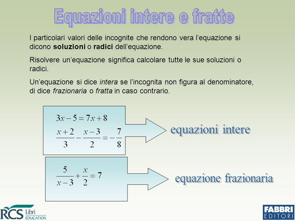 Equazioni intere e fratte