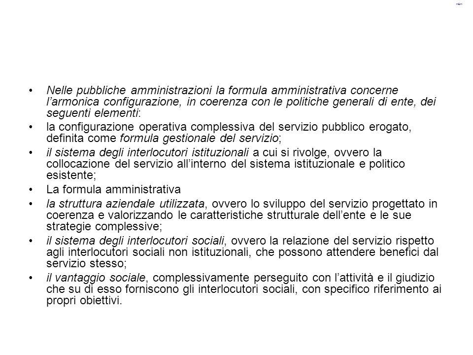 Nelle pubbliche amministrazioni la formula amministrativa concerne l'armonica configurazione, in coerenza con le politiche generali di ente, dei seguenti elementi: