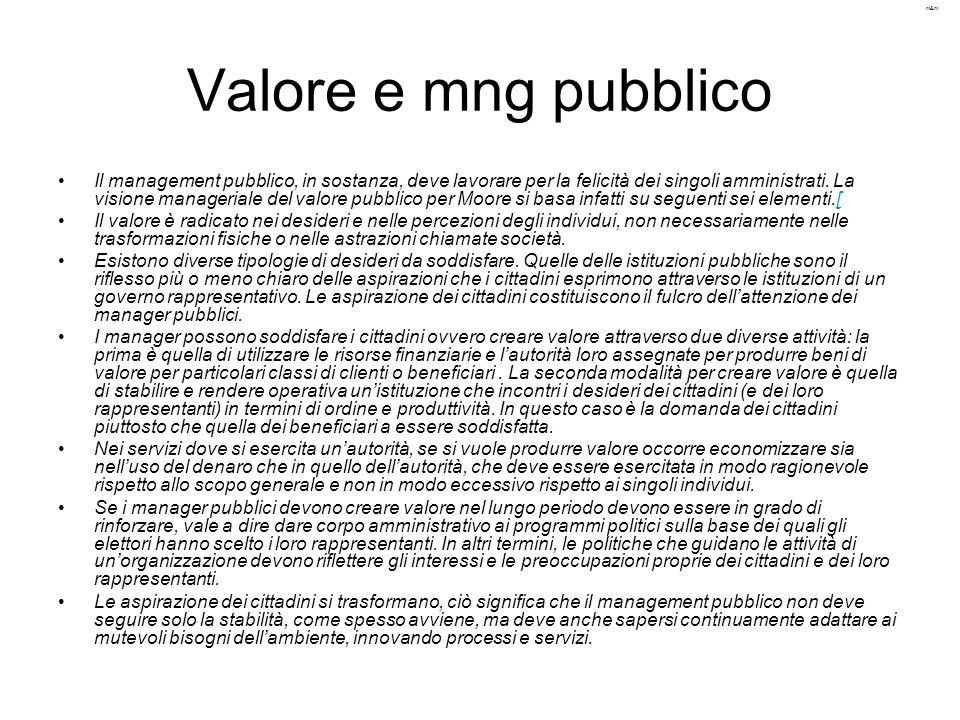 Valore e mng pubblico